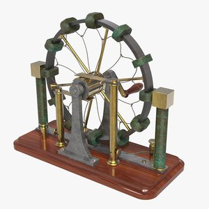 3D model antique wimshurst static machine