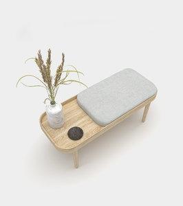 3D wooden bench accessories model