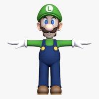 luigi super mario character 3D model