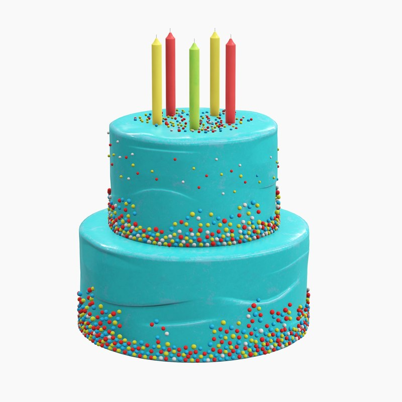 cake birthday candle 3D model