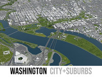 3D city washington surrounding area model