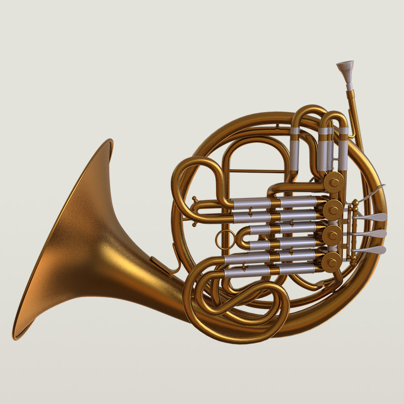 Photorealistic High Quality PBR Majestic Classic French Horn Low-poly 3D  model AR VR