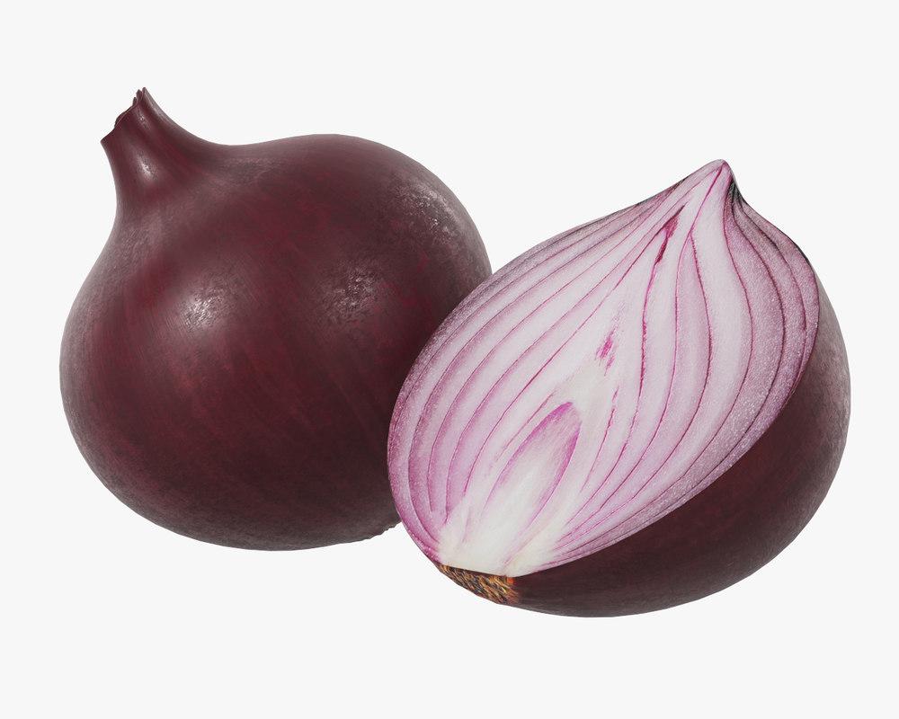 3D onion food vegetable