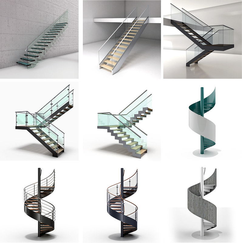 glass metal stairs 3D
