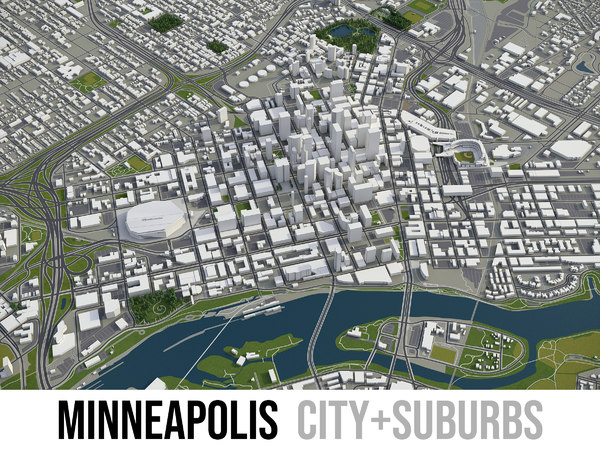 3D city minneapolis surrounding area model