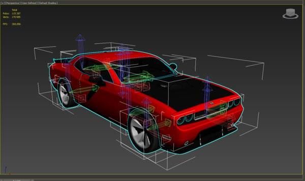 3D model dodge animation car completely