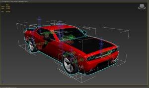 3D model dodge animation car completely