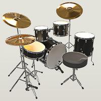 drum set low-poly ar 3D model