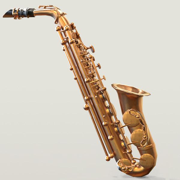 photorealistic asset saxophone low-poly 3D