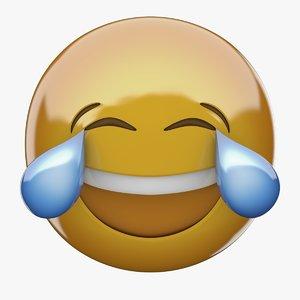 3D emoji face tears joy