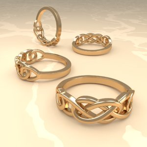 3D ring celtic gold