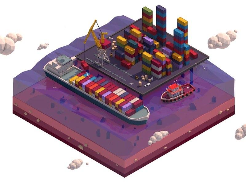 3D cartoon illustration crane port model