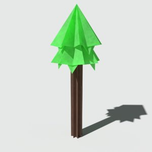3D ready origami pine