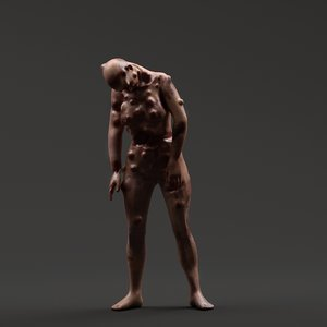 3D rigged infected woman zombie