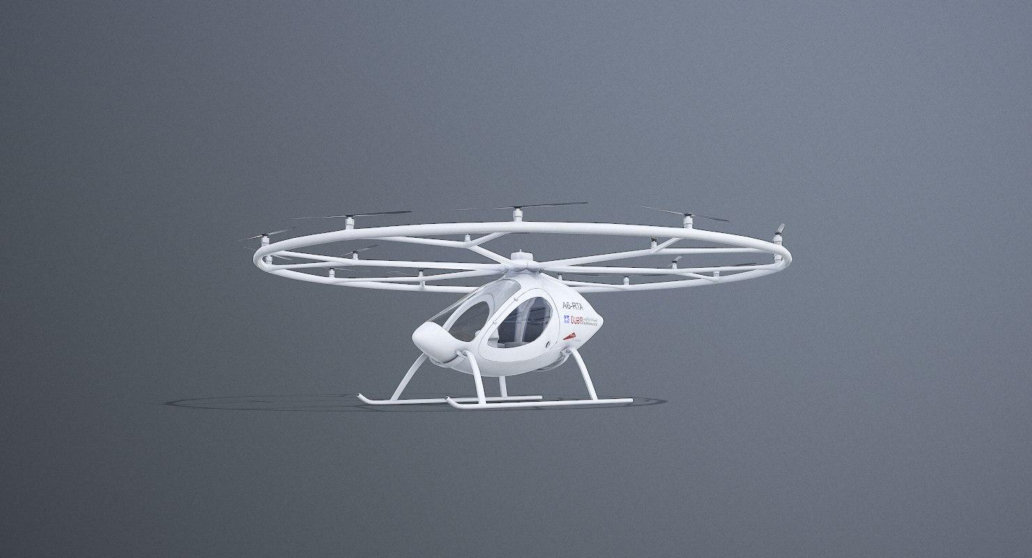 3D dubai flying drone taxi