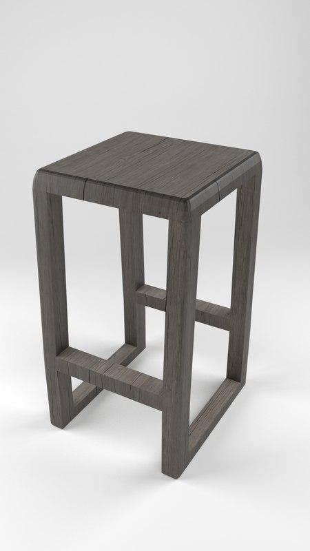 wooden stool 3D model