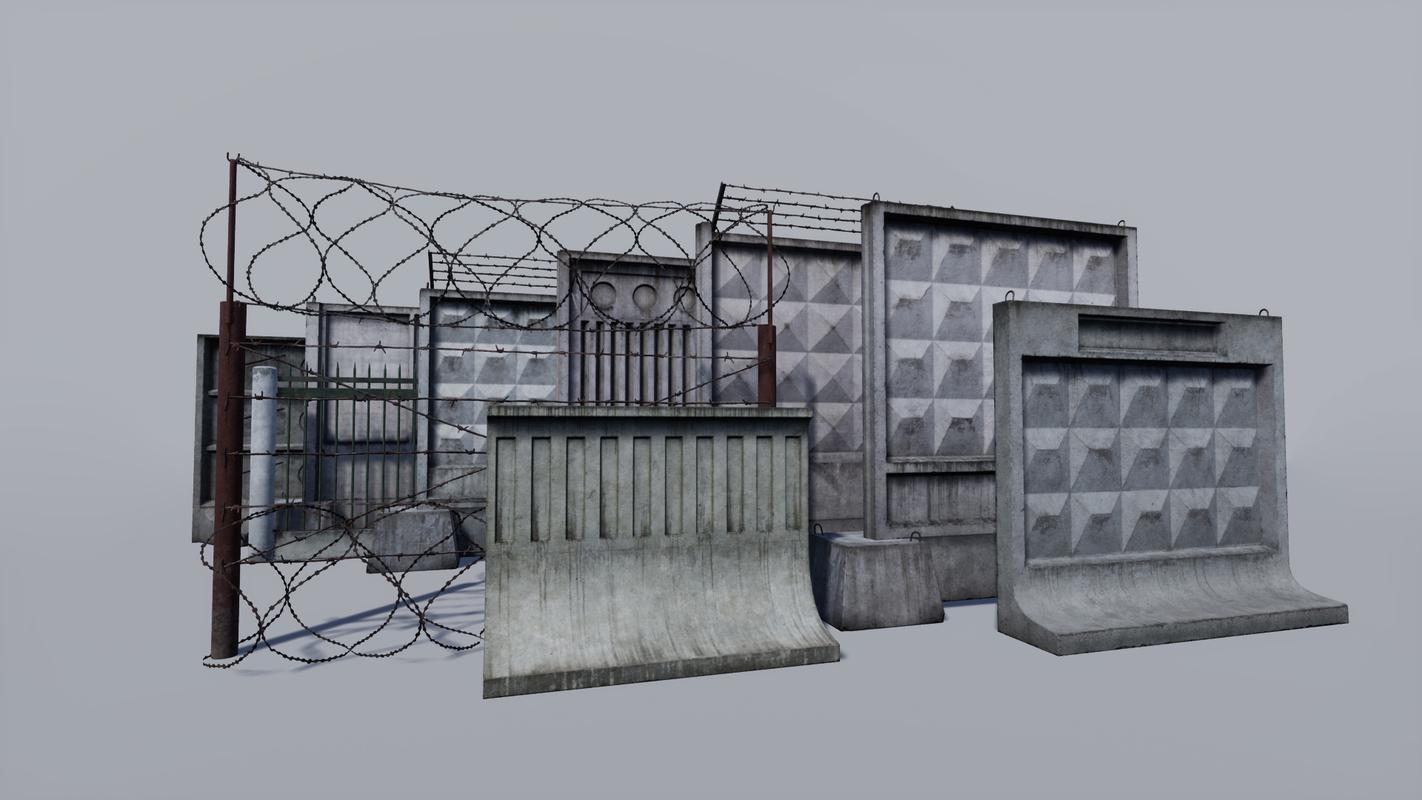 3D model concrete metallic fence
