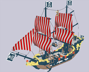 3D legolike pirateship lego model