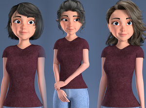 3D toon rigged woman