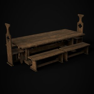 3D ready medieval dining table