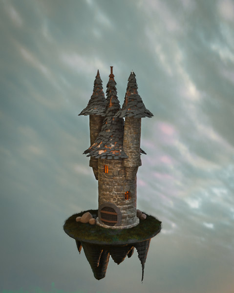 3D old castle tower model