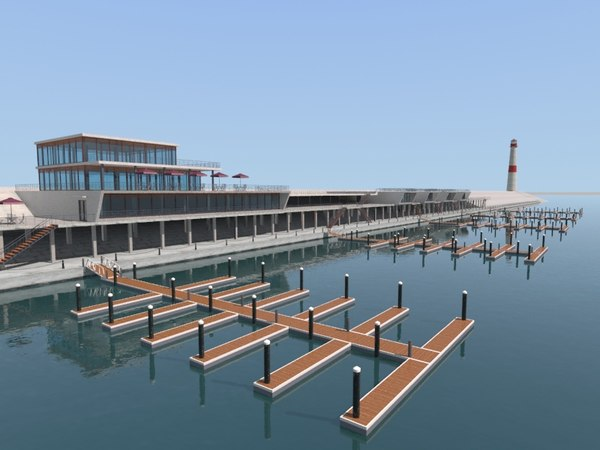 3D yacht dock