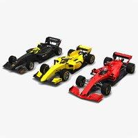 3D 3 formula race cars model