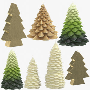 christmas trees shaped candles 3D model