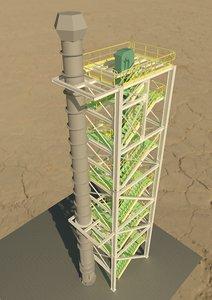 3D tower bucket elevator chimney model