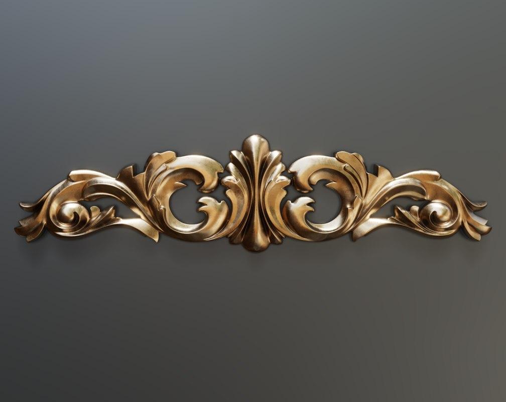 cartouche decor molding 3D