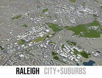 city raleigh surrounding area 3D model