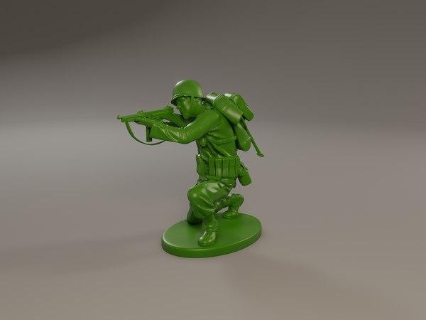 3D american soldier ww2 shooting model