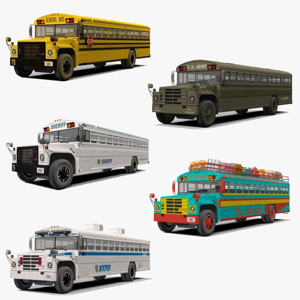 rigged school bus 3D model