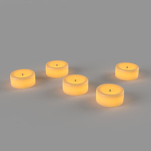 glowing led candles 3D model