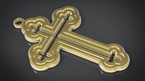 orthodox cross necklace 3D model