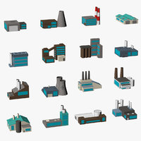 Factory buildings low poly