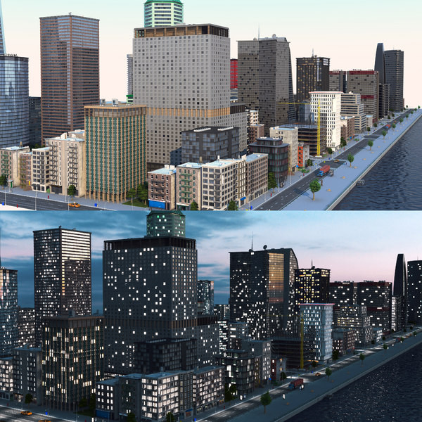 3D coastal city a1 day model