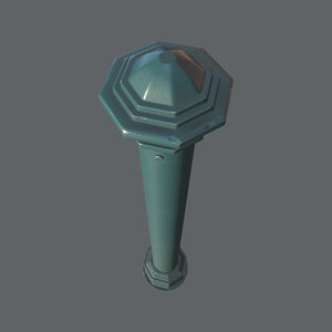 3D barrier bollard 3 green model