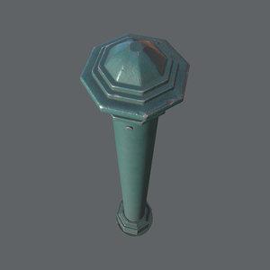 barrier bollard 3 green 3D model