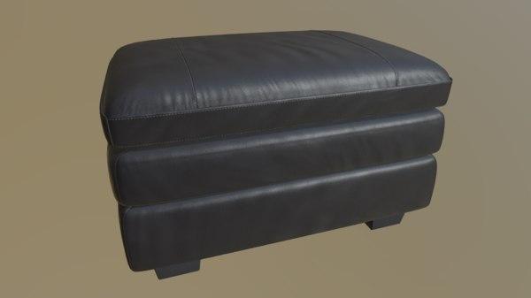 leather footstool gleason 3D model