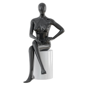 seated faceless woman mannequin 3D model