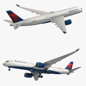 3D airbus delta airlines a350