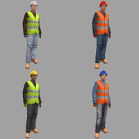 pack rigged female worker 3D model