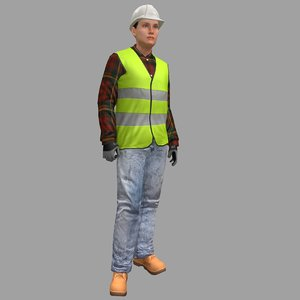 3D rigged female worker