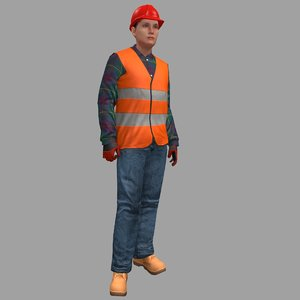 rigged female worker 3D model