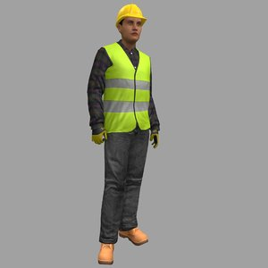 3D rigged female worker model
