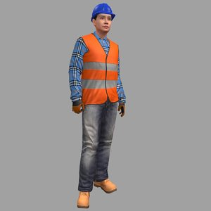 3D model rigged female worker