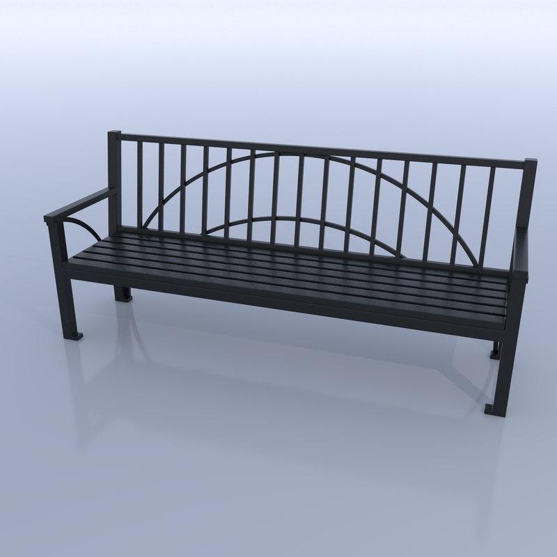 bench city street model
