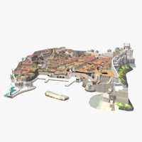 Dubrovnik Old Town Low Poly