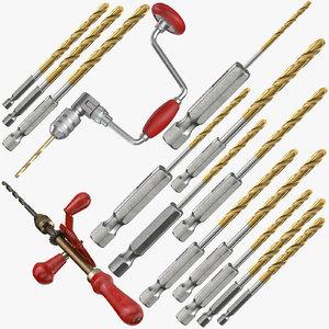 3D hand drills bits model